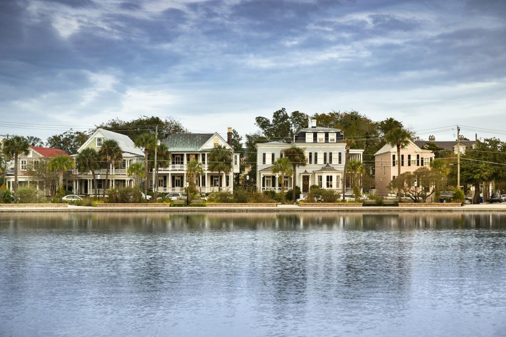 Charleston South Carolina homes in the morning